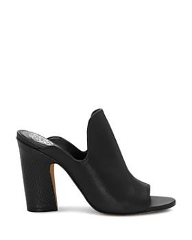 VINCE CAMUTO - Women's Gerrty Peep Toe High-Heel Leather Mules
