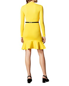 KAREN MILLEN - Belted Rib-Knit Dress