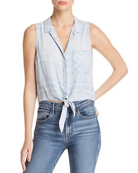 Bella Dahl - Tie-Front Sleeveless Plaid Top