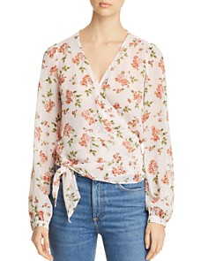 Red Haute - Floral-Print Wrap Top
