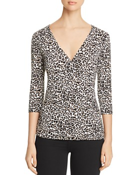 Leota - Ruched Animal Print Top