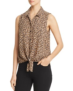 BeachLunchLounge - Animal Print Tie Front Top