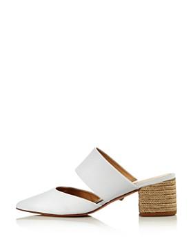 SCHUTZ - Women's Deliana Pointed Toe Leather Block Heel Mules
