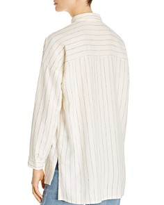 Eileen Fisher - Stitched Pinstripe Button-Down Top