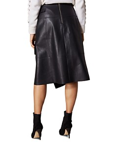 KAREN MILLEN - Faux Leather Faux-Wrap Skirt