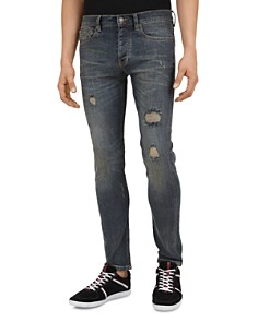 The Kooples - Blue Destroy Straight Slim Fit Jeans in Vintage Blue