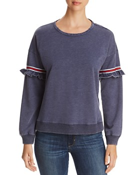 Design History - Ruffle-Trim Sport Stripe Sweatshirt