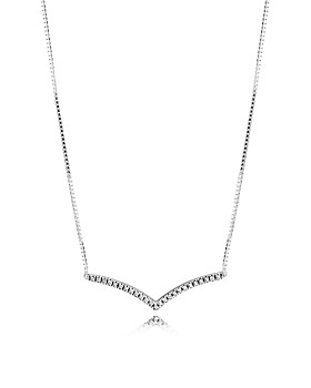 d168adc90 Pandora - Sterling Silver & Cubic Zirconia Shimmering Wish Necklace, 17.72