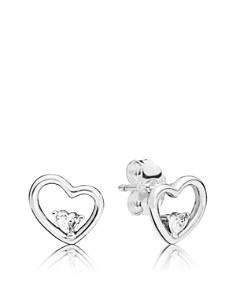 PANDORA - Sterling Silver & Cubic Zirconia Asymmetric Hearts of Love Earrings