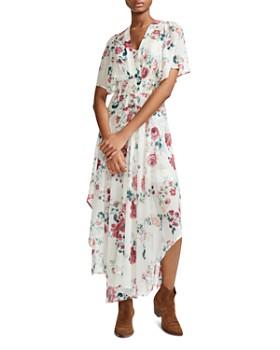 51a7e85632e7 Maje - Rachelle Asymmetric Floral-Print Maxi Dress ...