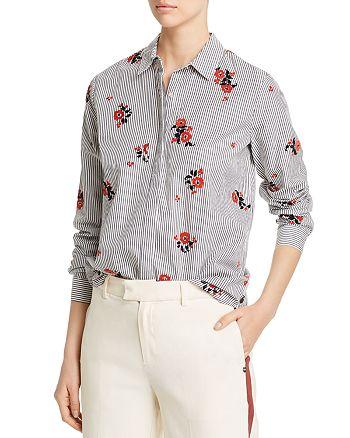 Scotch & Soda - Flocked Velvet Floral & Striped Shirt