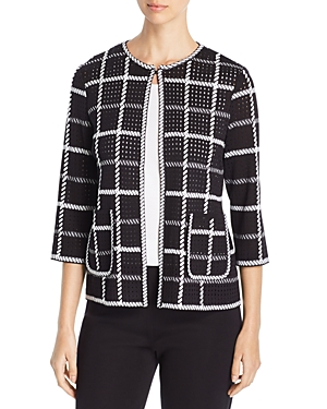 Misook Jackets WHIPSTITCHED CHECK JACKET