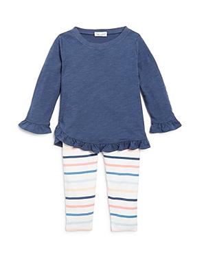 Splendid Girls Ruffled Top  Striped Leggings Set  Baby