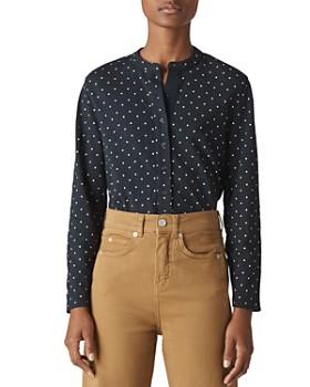 Whistles -  Whistles Spot Slub Cotton Jersey Shirt