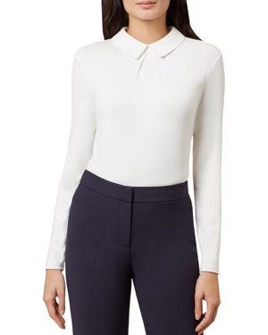 Hobbs London Sylvie Collared Pleated Top