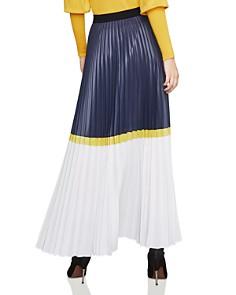 BCBGMAXAZRIA - Pleated Color-Block Maxi Skirt