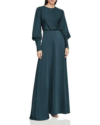 BCBGMAXAZRIA - Satin Draped-Back Maxi Dress