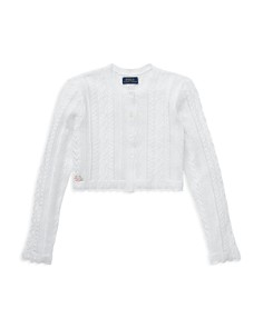 Ralph Lauren - Girls' Scalloped Pointelle Cardigan Shrug - Big Kid
