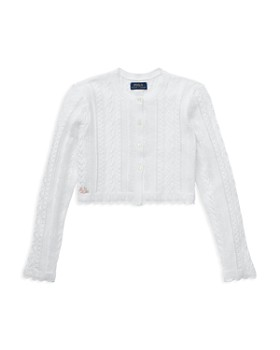 Ralph Lauren - Girls  Scalloped Pointelle Cardigan Shrug - Big Kid ... c31d3625be