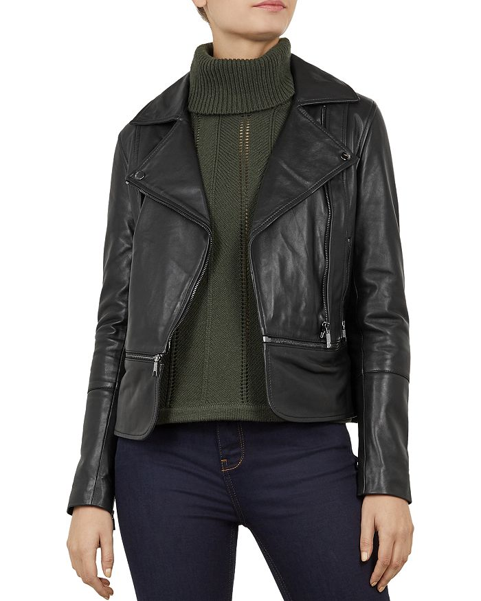 67fceb131201 Ted Baker - Yaswin Convertible Leather Biker Jacket