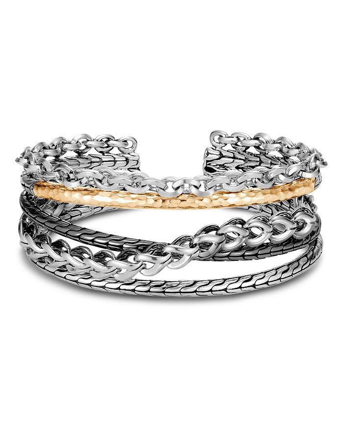 18k Yellow Gold Chain Link Flex Cuff