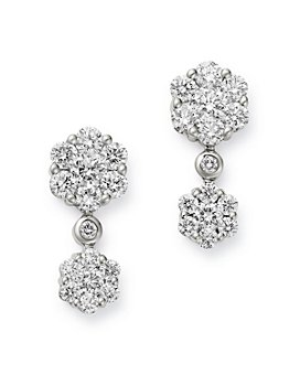 Bloomingdale's - Diamond Cluster Drop Earrings in 14K White Gold, 1.5 ct. t.w. - 100% Exclusive
