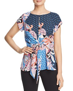 Status by Chenault - Mixed Print Tie-Waist Top