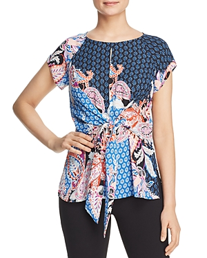 Status by Chenault Mixed Print Tie-Waist Top