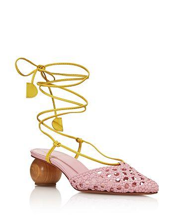 Dondoks - Women's Woven Leather Ball-Heel Mules