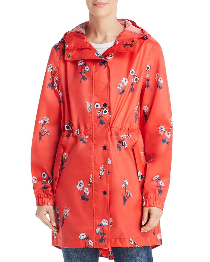 Joules Golightly Packable Floral Print Raincoat In Red Floral