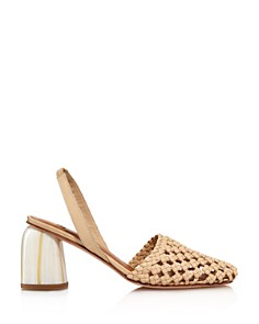 LoQ - Nina Woven Leather Slingback Pumps