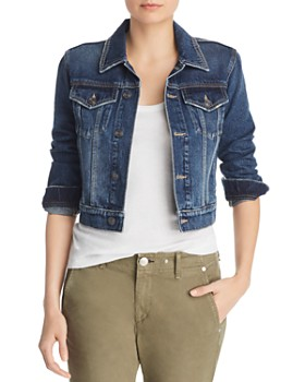 dc3620a6a6dae Current Elliott - The Baby Trucker Cropped Denim Jacket ...