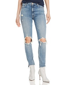 MOTHER - Stunner Distressed Step-Hem Fray Skinny Jeans in Helter Skelter