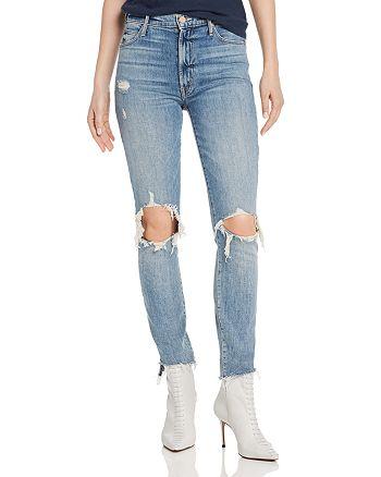 MOTHER - Stunner Distressed Step-Hem Fray Skinny Jeans in Helter Skelter