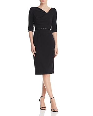 Black Halo Belted Sheath Dress