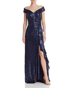 Tadashi Petites - Off-the-Shoulder Sequined Gown