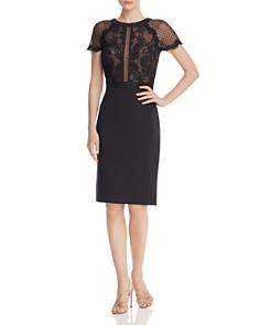Tadashi Petites - Short Sleeve Lace & Neoprene Sheath Dress