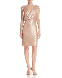 Tadashi Petites - Sequined Crossover Blouson Dress