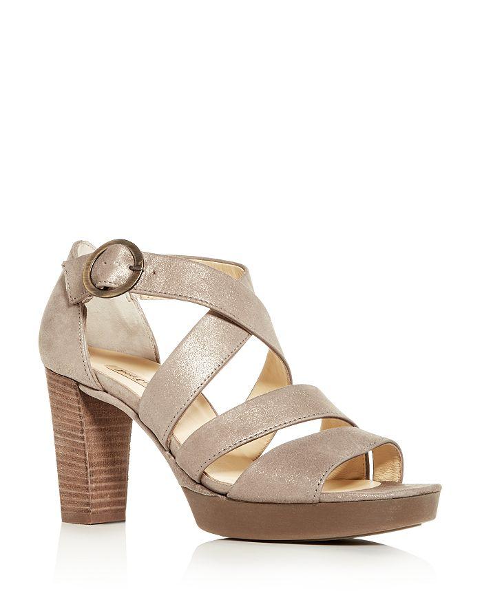 Paul Green Women's Riveriera Crisscross High-Heel Platform Sandals In Champagne Nubuck