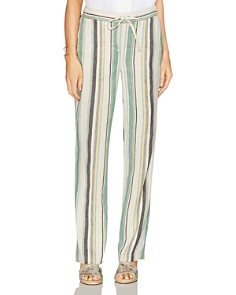 VINCE CAMUTO - Drawstring Striped Straight Pants