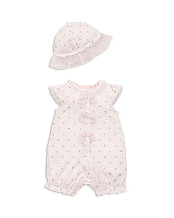 Little Me - Girls' Sparkle-Heart Romper & Sun Hat Set - Baby
