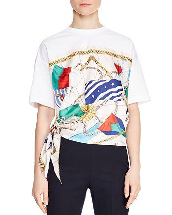 Sandro - Josy Printed Tie-Detail Tee