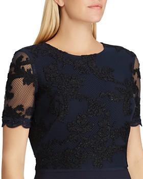 Ralph Lauren - Lace-Bodice Crepe Gown