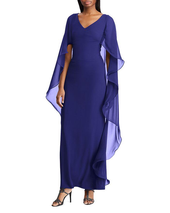 e5d8ae64664 Ralph Lauren - Cape-Overlay Chiffon Gown