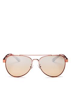 Tory Burch - Women's Mirrored Brow Bar Aviator Sunglasses, 57mm
