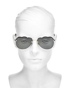 Miu Miu - Women's Mirrored Brow Bar Scalloped Aviator Sunglasses, 58mm