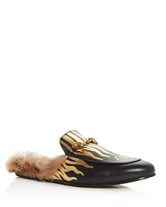 Gucci - Men's Princetown Flames Leather & Lamb Fur Slippers