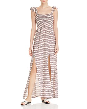 fe9090f61c5 AQUA - Smocked Geometric Print Maxi Dress - 100% Exclusive ...