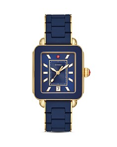 MICHELE - Deco Sport Gold-Tone Deep Blue-Wrapped Silicone Watch, 34mm x 36mm
