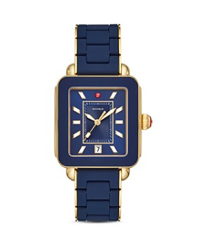 a4996d6814cbe MICHELE - Deco Sport Gold-Tone Deep Blue-Wrapped Silicone Watch